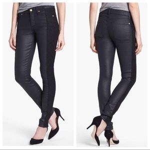 7 for all mankind black coated jeans w/lace panel